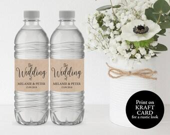 greenery wedding water bottle label template printable water etsy