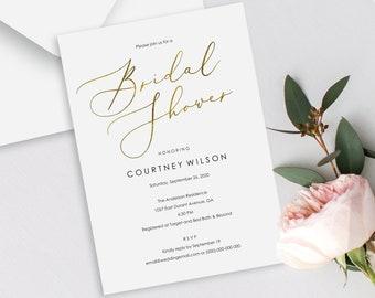 5dae4fade7b Faux Gold Bridal Shower Invitation Template