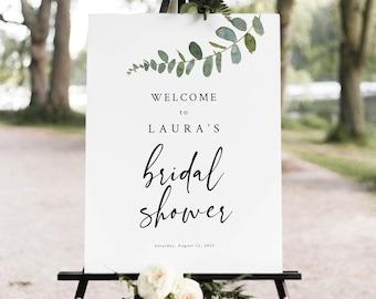 Printable Greenery Bridal Shower Sign Wedding Shower Sign Eucalyptus Wedding Sign Eucalyptus Bridal Shower Sign Our Love Story Sign