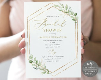 Editable Invitation Rustic TRY BEFORE You BUY Boy Baby Shower Greenery Baby Shower Invitation Eucalyptus Paper Leaf Template Diy