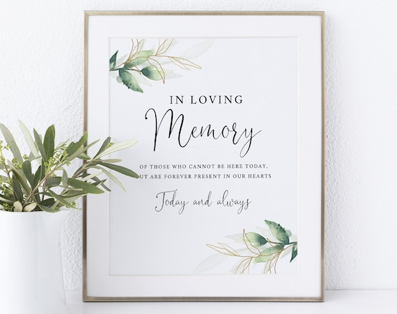 In Loving Memory Sign Template, Instant Download Non-Editable, Greenery & Gold