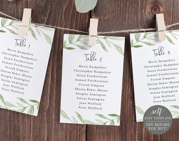 Seating Chart Template, Greenery Leaves, TRY BEFORE You BUY, Editable Instant Download