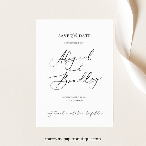 Save the Date Template, Editable Instant Download, TRY BEFORE You BUY, Elegant Script