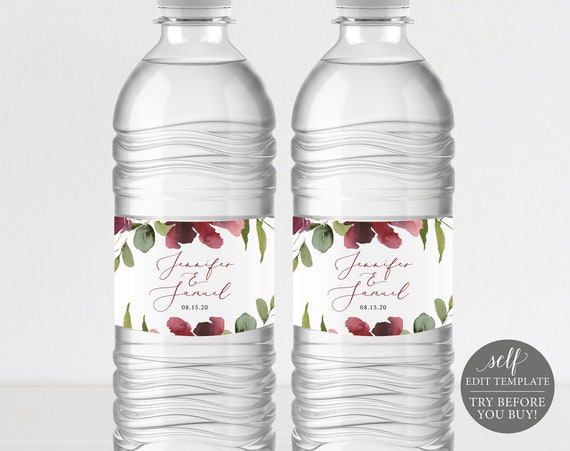 Water Bottle Label Template, TRY BEFORE You BUY, Water Bottle Labels Printable, 100% Editable Instant Download, Burgundy Floral