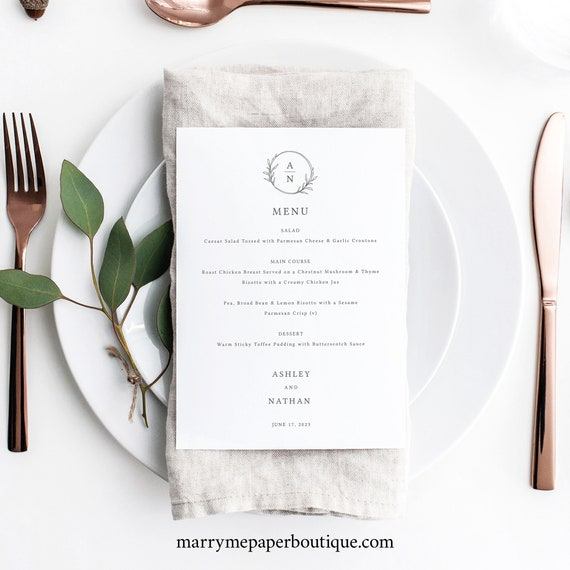 Wedding Menu Template, Circle Monogram Design, Editable 5x7 Menu Printable, Try Before Purchase, Templett Instant Download