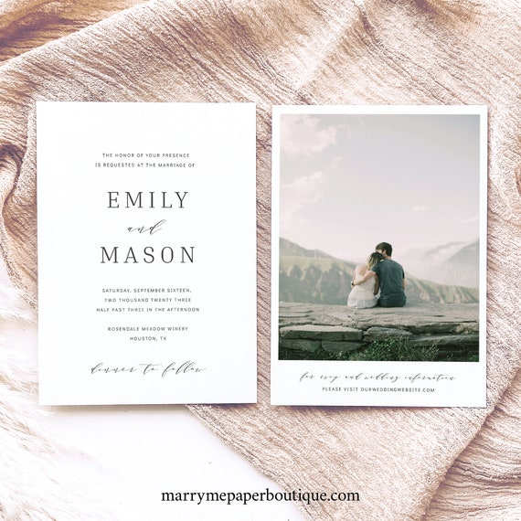 Wedding Invitation Template, Formal & Elegant, Printable Wedding Invitation, Editable, Templett INSTANT Download, Double Sided