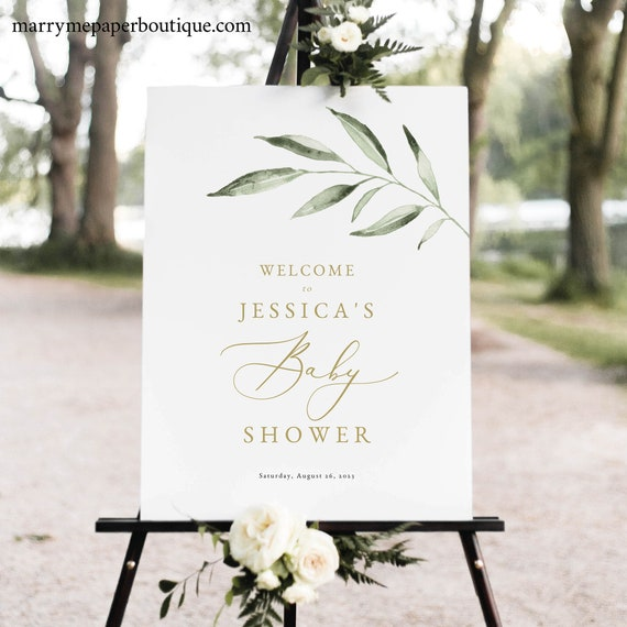 Baby Shower Welcome Sign Template, Elegant Olive Leaf, Greenery Baby Shower Sign, Printable, Editable, Templett INSTANT Download