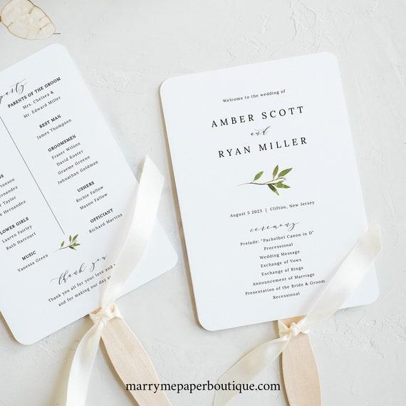 Greenery Wedding Program Fan Template, Green Leaf Fan Program Printable, Templett Editable, Instant Download