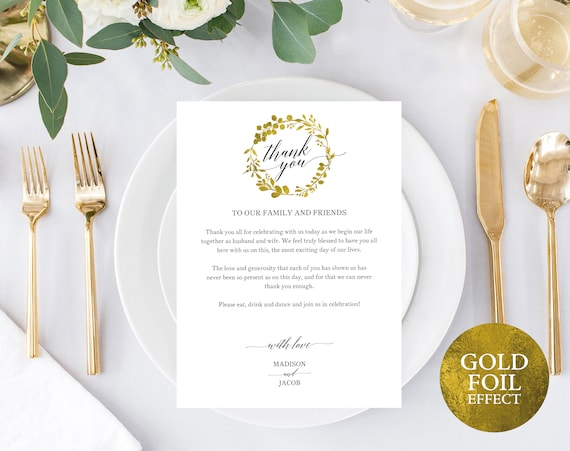 Faux Gold Wedding Thank You Card Template, Editable Thank You Card, Printable Thank You Card, Gold Table Card, PDF Instant Download, MM07-3