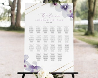 Wedding Seating Plan Template, Lilac Flowers, Seating Chart Sign, Printable, Poster, Purple Hydrangea, Templett INSTANT Download, Vertical