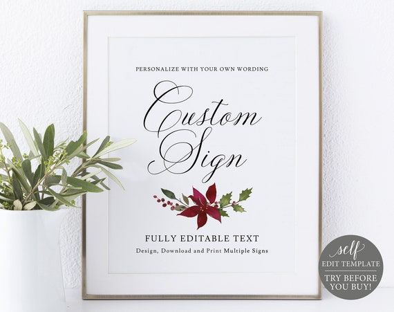 Create Multiple Signs Template, 8x10 Christmas Design, Editable Instant Download, TRY BEFORE You BUY