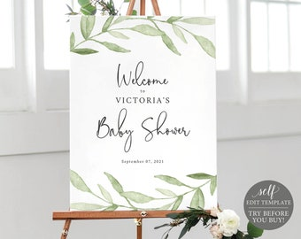 Baby Shower Welcome Sign Template, Greenery Leaves, Editable Instant Download, TRY BEFORE You BUY