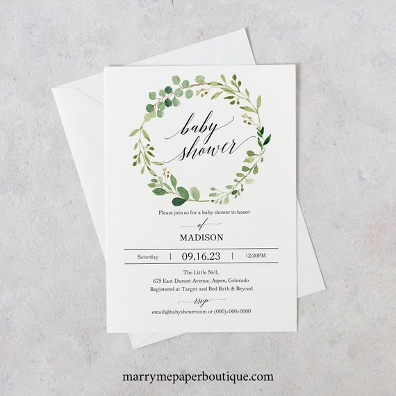 Baby Shower Invitation Template, TRY BEFORE You BUY, Editable Instant Download, Greenery