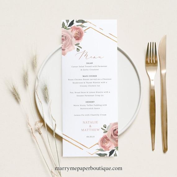 Wedding Menu Template, Dusky Pink Floral, Wedding Table Menu Card, Printable, Editable, Templett INSTANT Download