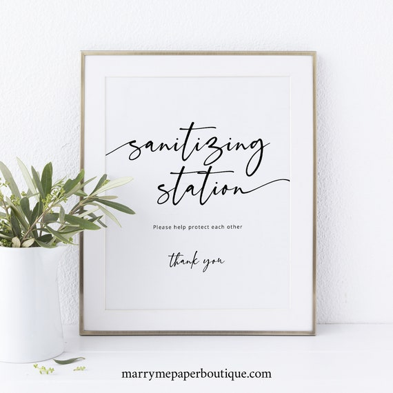 Wedding Sanitizing Station Sign Template, Modern Calligraphy, Fully Editable, Templett INSTANT Download