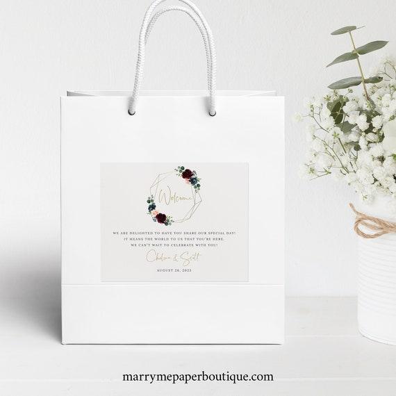 Wedding Welcome Bag Label Template, Burgundy Geometric, Navy, Guest Bag Label Printable, Editable, Templett, INSTANT Download