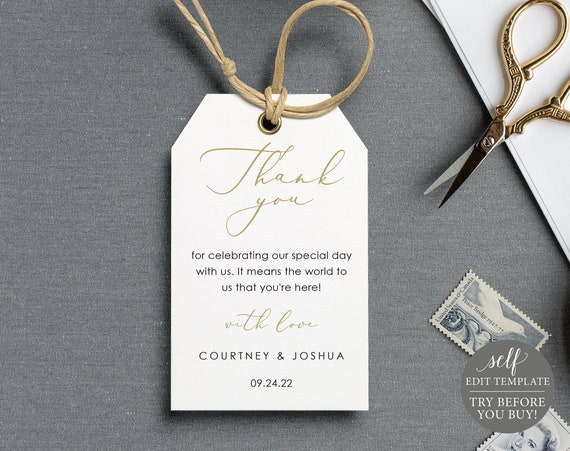 Favor Tag Template, Elegant Gold, Demo Available, Printable Editable Instant Download