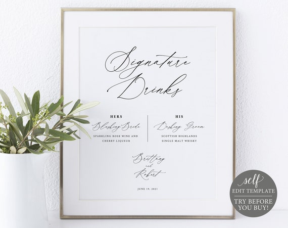 Signature Drinks Sign Template, Stylish Script, 100% Editable Instant Download, TRY BEFORE You BUY