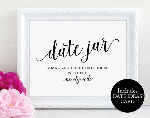 Date Jar Sign, Newlyweds, Date Night Ideas, Date Jar Wedding Sign, Wedding Printable, Date Ideas Card, Date Sign, Instant Download, MM01-1
