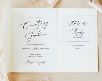Wedding Invitation Template Set, Pocket Fold, Elegant Script, Printable Invite Set, Editable, Pretty Font, Templett, INSTANT Download