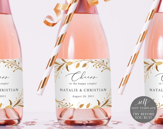 Mini Champagne Bottle Label Template, Gold Foliage, TRY BEFORE You BUY, Editable Instant Download