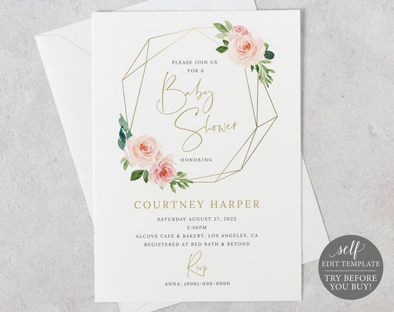 Baby Shower Invitation Template, Blush Pink Geometric, Demo Available, Order Edit & Download In Minutes
