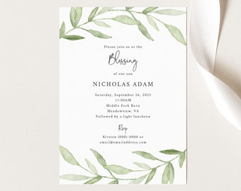 Blessing Ceremony Invitation Template, Greenery Leaves, Printable Baby Blessing Invitation Card, Templett INSTANT Download, Editable