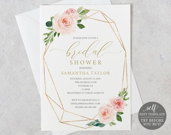 Bridal Shower Invitation, Printable Bridal Shower Invite 100% Editable Template, Instant Download, Geometric, Pink, Blush, Gold, Floral