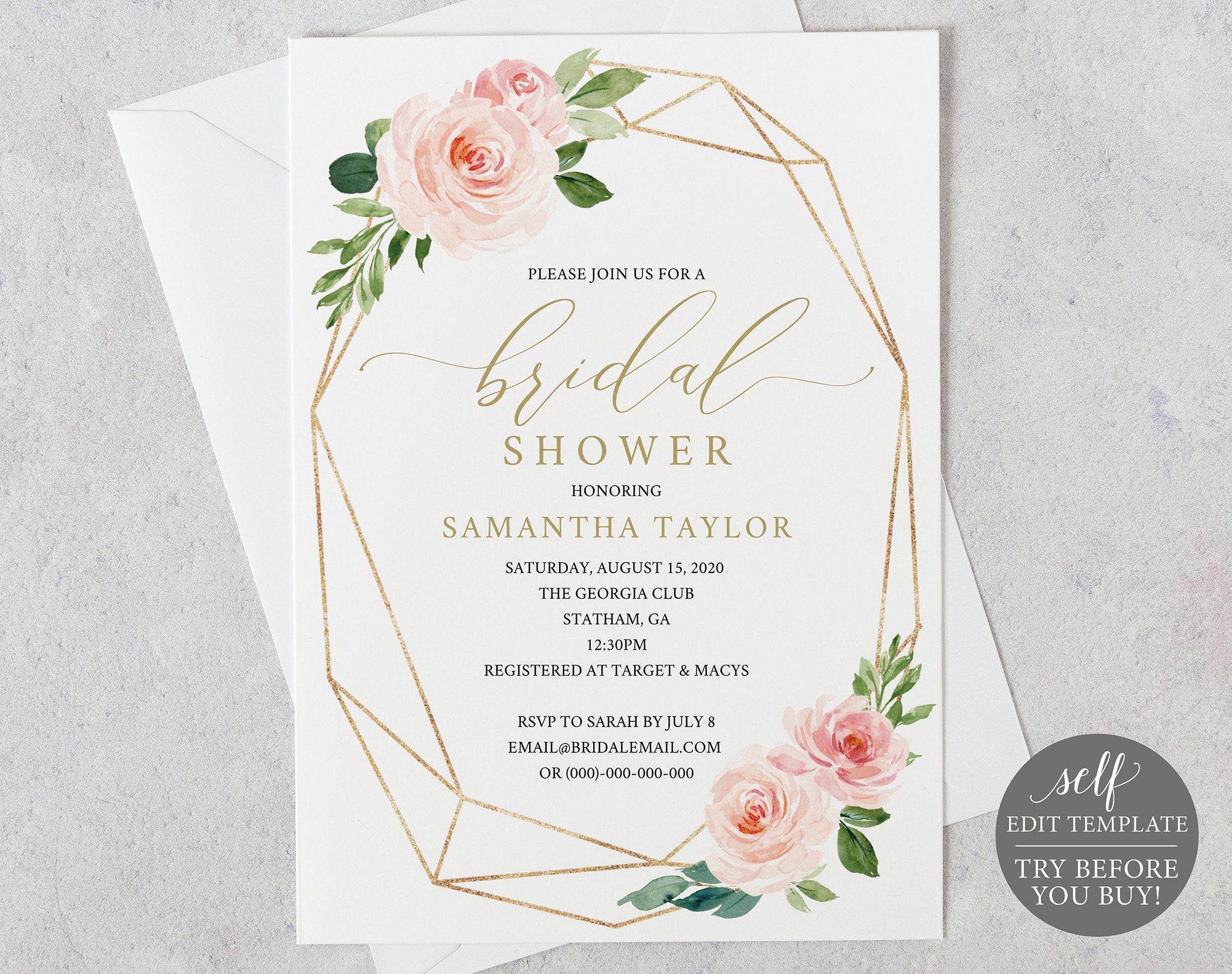 Bridal Shower Invitation Printable Bridal Shower Invite 100 Etsy