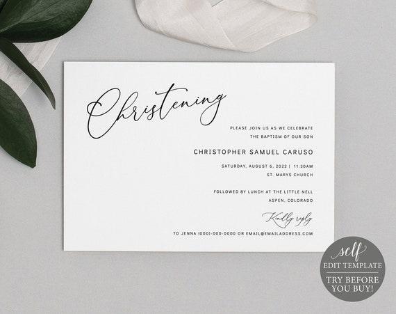 Christening Invitation Template, Minimalist Script, Editable & Printable Instant Download