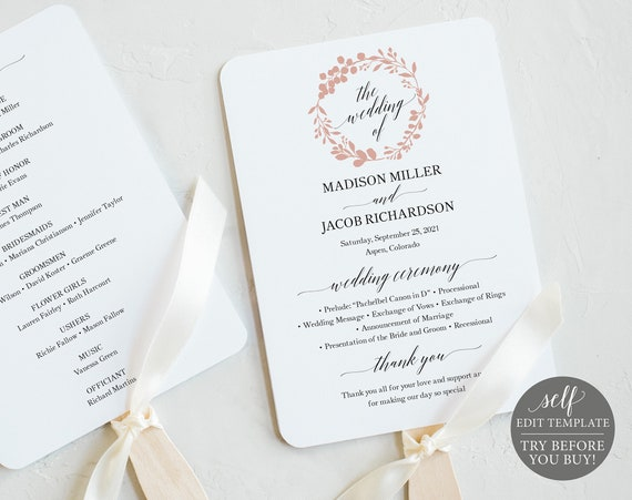 Wedding Program Fan Template, TRY BEFORE You BUY, Rose Gold Wreath, Editable Instant Download