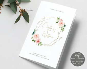 Wedding Program Template Folded, Blush Pink Geometric, Demo Available, Order Edit & Download In Minutes