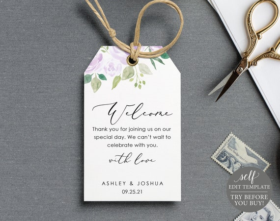 Welcome Favor Tag Template, Lilac Floral, Editable Instant Download, TRY BEFORE You BUY