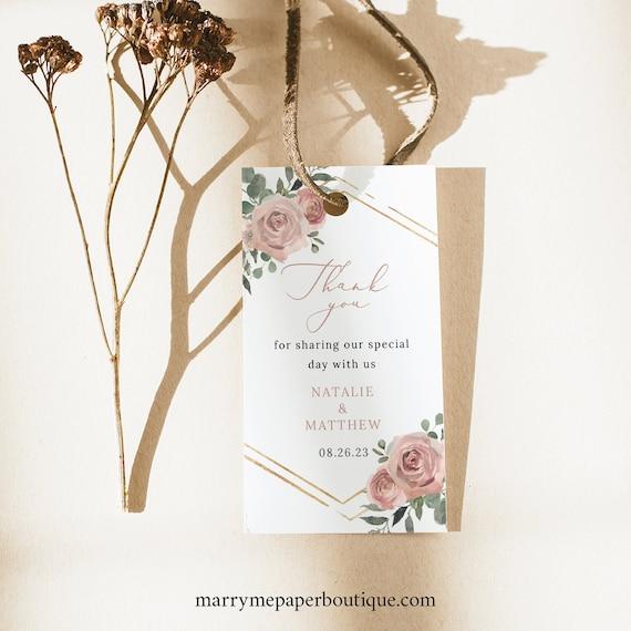 Wedding Favor Tag Template, Dusky Pink Floral, Printable Wedding Tag, Rectangular, Editable, Templett INSTANT Download