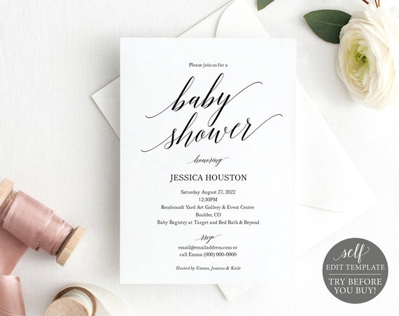 Baby Shower Invitation Template, Calligraphy, FREE Demo Available, 100% Editable Instant Download