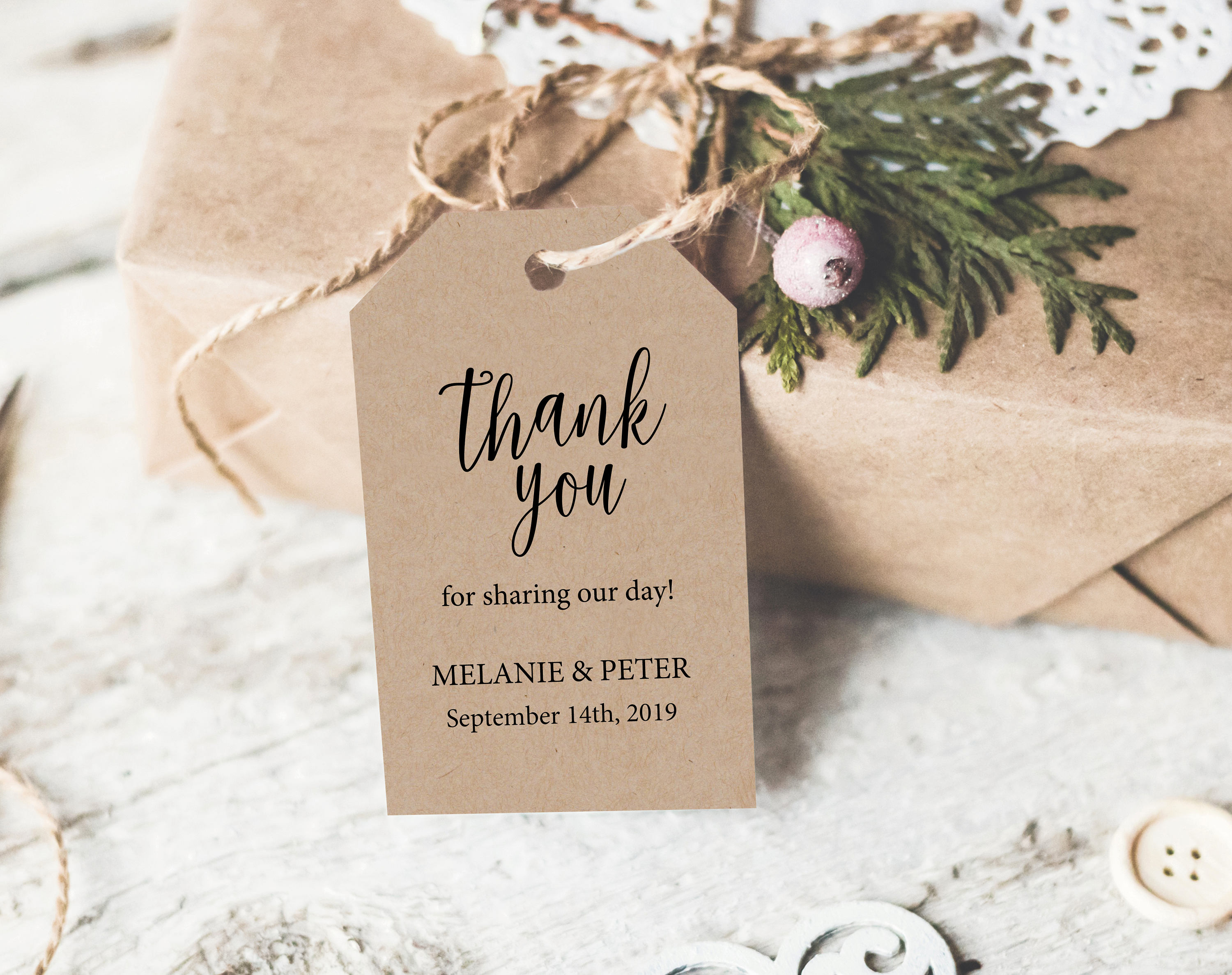 Rustic Thank You Tag Template, Rustic Favor Tag, Wedding Thank You ...