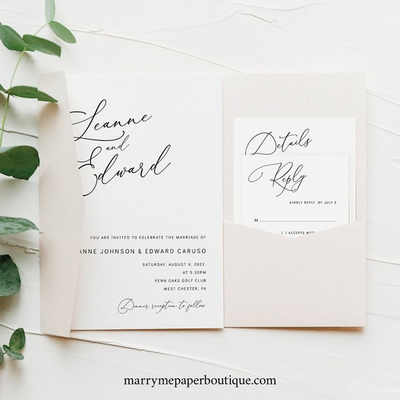 Wedding Invitation Template Suite, Minimalist Script, Editable & Printable Instant Download, Try Before Purchase, Pocketfold Style