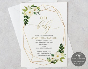 Baby Shower Invitation Template, White Gold Geometric TRY BEFORE You BUY, Editable Instant Download