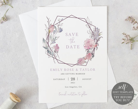 Save the Date Template, TRY BEFORE You BUY, Editable, Instant Download, Pink & Lilac Floral Geometric