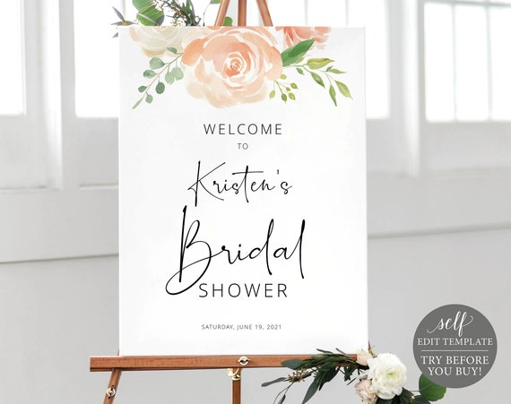 Bridal Shower Welcome Sign Template, TRY BEFORE You BUY, Fully Editable Instant Download, Peach Floral