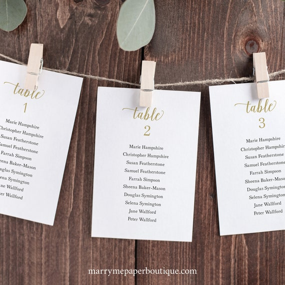 Wedding Seating Chart Cards Template, Modern Script Gold, 4x6, Try Before Purchase, Editable & Printable, Instant Download