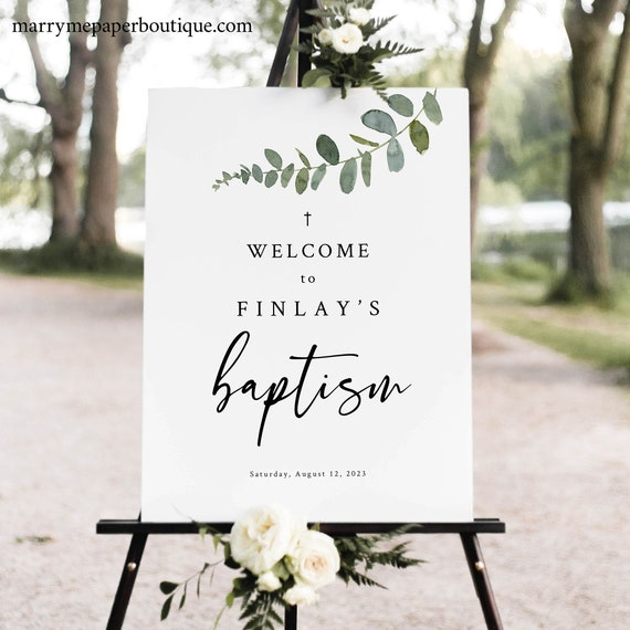 Baptism Welcome Sign Template, Eucalyptus Greenery, Baptism Sign Printable, Templett Instant Download, Try Before Purchase