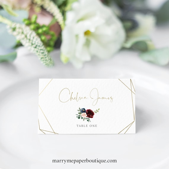Burgundy Wedding Place Card Template, Geometric, Navy, Printable Seating Cards, Templett Editable, INSTANT Download