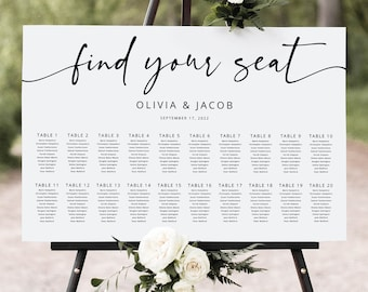 Seating Chart Template, Modern Calligraphy, Editable & Printable, Templett Instant Download, Try Before Purchase