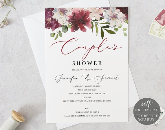 Couples Shower Invitation Template, TRY BEFORE You BUY, 100% Editable, Instant Download, Printable Wedding Shower Invite, Floral Burgundy