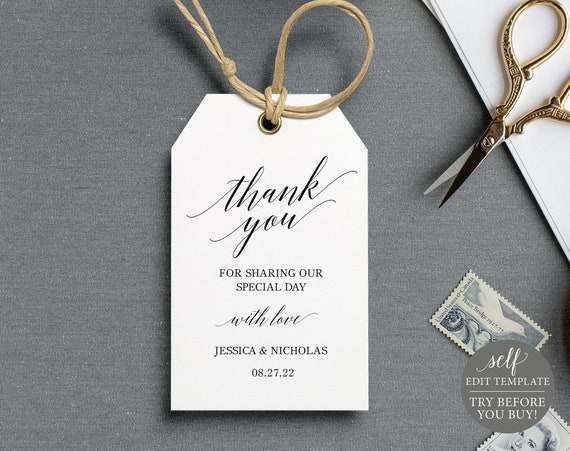Wedding Favor Tag Template, FREE Demo Available, Calligraphy, Editable Instant Download