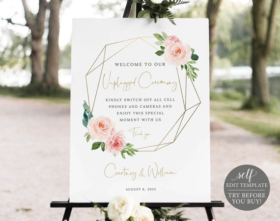 Unplugged Ceremony Sign Template, Blush Pink Geometric, Order Edit & Download In Minutes, Try Before Purchase
