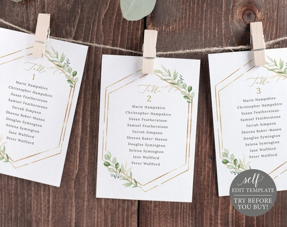 Wedding Seating Cards Template, Greenery Hexagonal, Templett, TRY BEFORE You Buy, Editable & Printable Instant Download