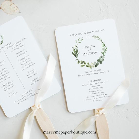 Wedding Program Fan Template, Templett Instant Download, Try Before Purchase, Printable, Elegant Greenery
