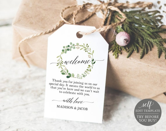 Greenery Wedding Welcome Tag Template, Editable Welcome Tag, Wedding Favor Tags, Printable Welcome Tags, Instant Download